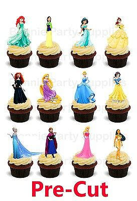 12 Disney Princess Stand Up Edible Wafer Thick Card cupcake toppers PRE CUT