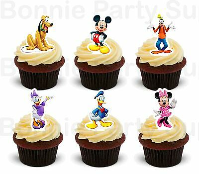 12 Mickey Mouse Clubhouse Edible Wafer Thick Card cupcake cake toppers PRE CUT