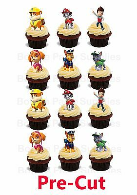 12 Paw Patrol Large Stand Up Edible Wafer Thick Card cupcake toppers PRE CUT