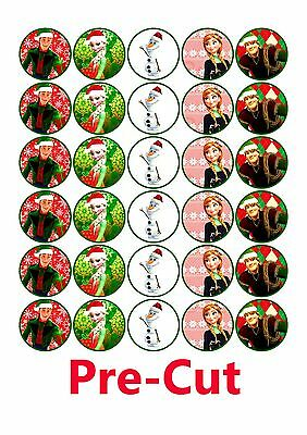 30 Christmas Frozen edible wafer paper cupcake toppers PRE CUT