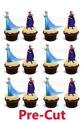 12 Disney Frozen Elsa Anna Stand Up Edible Wafer Card cupcake toppers PRE CUT