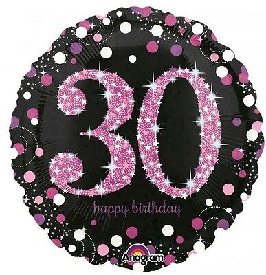 Party Supplies  Birthday 30th  Pink Sparkling Holographic 45cm foil Balloon