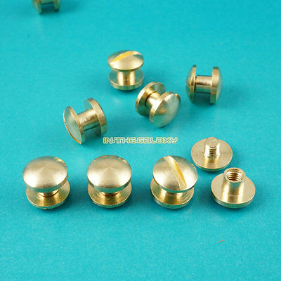 50 Set 8*3mm Solid Brass Rivet Chicago Screw for Leather Craft Cambered