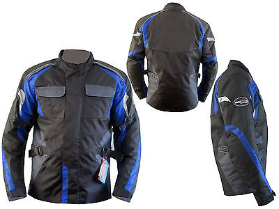 Motorbike Men Waterproof CE Protected Cordura Textile Blue Jacket All Weather
