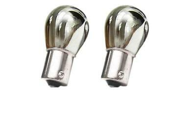 2x CHROME SILVER 12V P21/5W AMBER INDICATOR BULBS PAIR