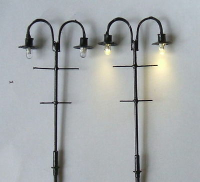 H20,15 pcs Model lampposts( 75mm,warm white LED),12V model lamppost