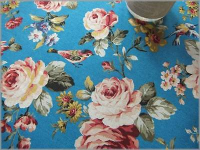 Old Pink Rose Birds Cotton Linen Canvas Turquoise blue 1/2 m - Japanese Fabric