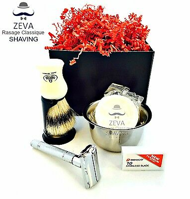 Safety Razor DE Shaving Set ZEVA Omega Dorco Best 5in1 Men Gift idea