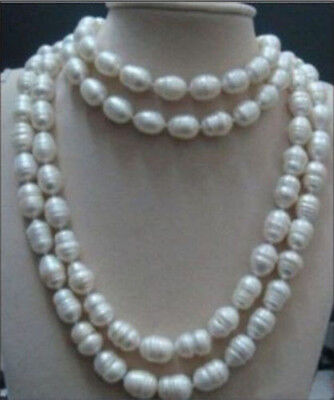 """Rare 12-13mm AAA south sea white natural baroque pearl necklace 65"""" inches"""
