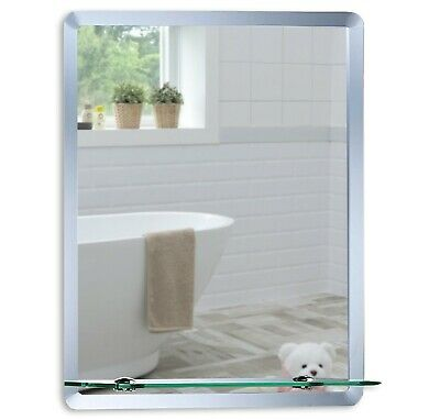 Bathroom Mirror Modern Rectangular w/ Shelf 60x40cm Frameless Plain Wall Mount 2