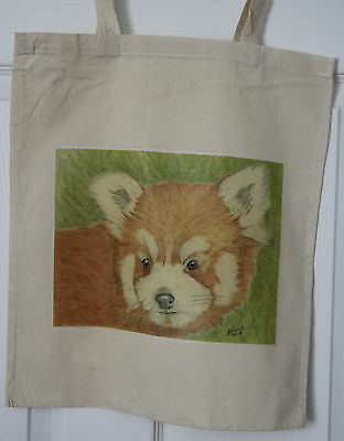 Red Panda Original Artwork on Canvas and Cotton Bags 3 designs