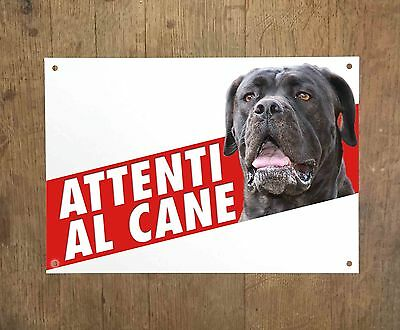 CANE CORSO 2 Attenti al cane Targa cartello metallo Beware of dog sign metal