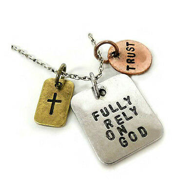 *uk* Antique Silver Plt 'fully Rely On God' Engraved Necklace Trust Crucifix 18'