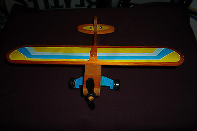 """Vintage 1982 Fisher Price Wooden Airplane with 12"""" Wingspan"""