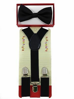 Kids Boys & Girls Adjustable High Quality Bow Tie & Suspender Set Black