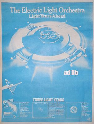 "ELECTRIC LIGHT ORCHESTRA - LIGHT YEARS AHEAD - BRITISH 16"" x 12"" ADVERT/AD 1978"