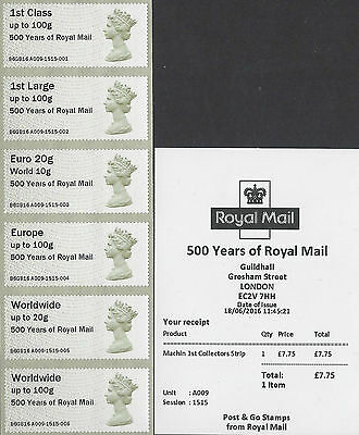 Post & Go 2016 Guildhall Yard Royal Mail 500 Smiler Sheet Machin Post & Go