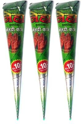 3x Neha Henna Paste Cones Kegel (ROT-BRAUN) 90g, 100% Natural, No Mix, No P.P.D