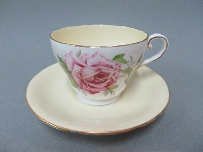 Aynsley England Teacup & Saucer Pale Pink with Large American Beauty Like Rose