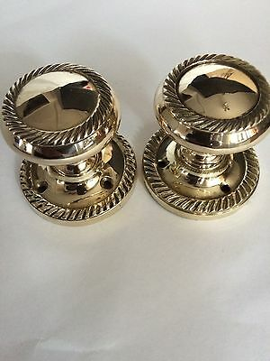 Pair of Vintage Georgian Style Brass Reclaimed Round Door Knobs/Handle