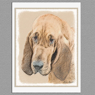 6 Bloodhound Dog Blank Art Note Greeting Cards