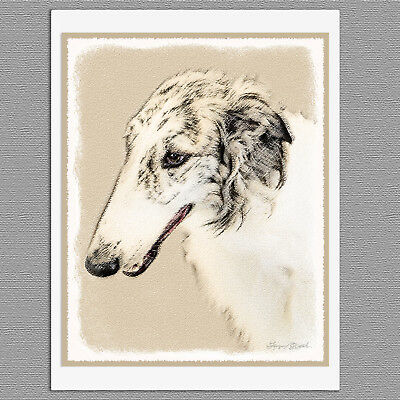 6 Borzoi Russian Wolfhound Blank Art Note Greeting Cards