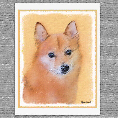 6 Finnish Spitz Dog Blank Art Note Greeting Cards