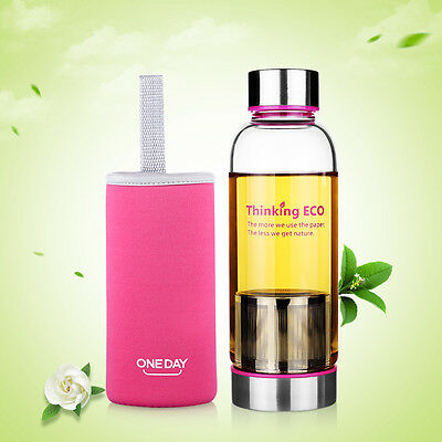 ONEDAY 380ML Glass Water Bottle Sports Travel Mug Cup w/Tea Infuser Cover Pink