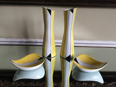 Cmielow Original Pair Of Vases And Pin Dishes Poland Signed