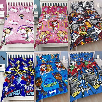 Official Licensed Character Double Duvet Cover Bed Set Disney Marvel WWE Gift