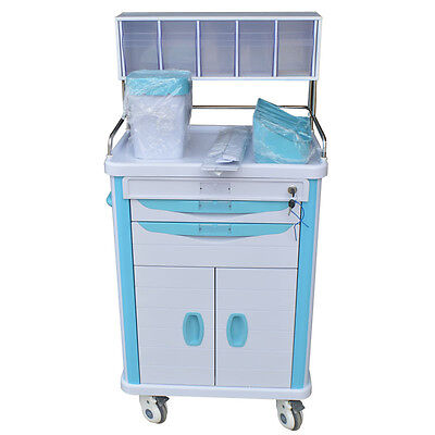Pharmacy Anesthesia Cart with Key Lock Drawer Anesthesia Cart New