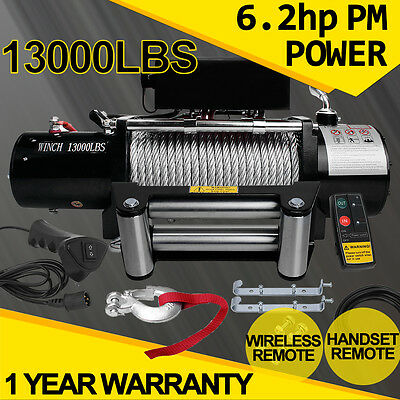 ELECTRIC WINCH 12V 13000LBS WITH WIRELESS REMOTE Steel Rope 4x4 ATV BOAT TRAILER