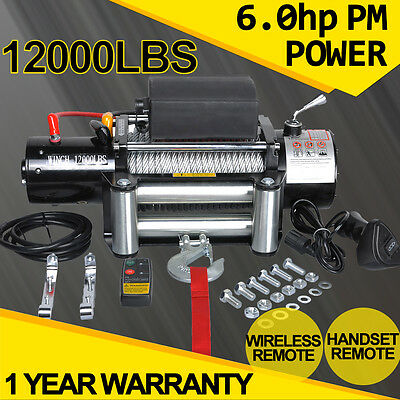 12V 12000lb Electric Winch Recovery Wireless Remote Control ATV Heavy Duty ATV