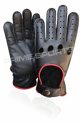 Top Quality Real Soft Leather Mens Driving Gloves Black