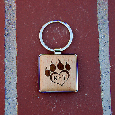 heart with paw Wooden Key chain, Personalized key chain, gift idea