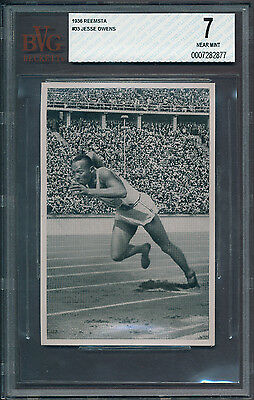 1936 Reemstma #33 Jesse Owens Rookie (RC) BVG 7  - Only 2 graded higher (B&BEnt)