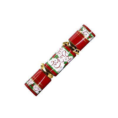 "100 Christmas Crackers Holly Design 9"" Red, Green & Gold"