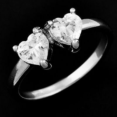 Wholesale Childrens Jewelry Silver Plated Heart Clear Crystal Girls Ring Size 6