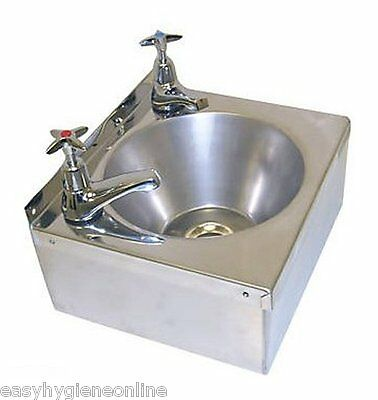 Stainless Steel HAND WASH BASIN Sink + TAPS, UK TRAP & Waste