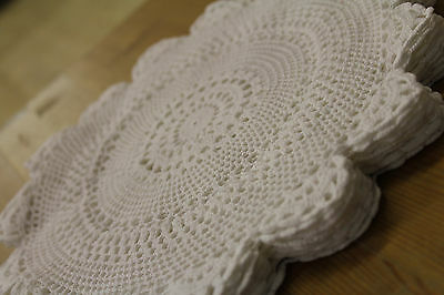 Beautiful Hand Made Ditsy Cotton White Table Linen Doilies Set of 8 + 4 Inch