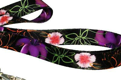 BLACK FLOWERS Unique SATIN LANYARD NECK STRAP RIBBON for Mobile Keys Usb Mp3 ID
