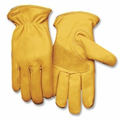198-L Large Gold Cowhide Driver Gloves W/Suede Palm & Keystone Thumb