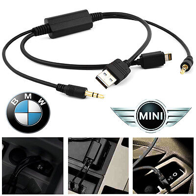 Bmw & Mini iPod iPhone 5 5s 6 Plus Interface Audio USB Y Cable AUX Adapter Lead