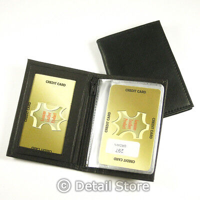 SOFT Genuine Leather ID/Credit Card Holder/Case/Wallet with Insert & Zipper
