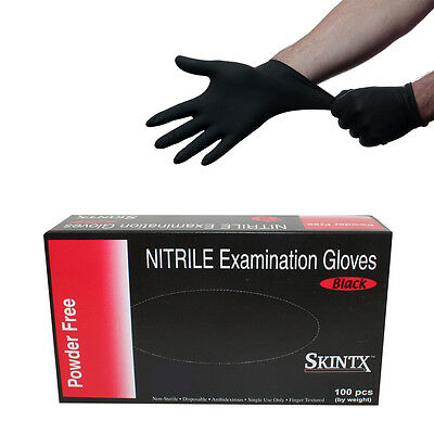 100 Black Nitrile Powder Free Medical Exam Tattoos Piercing Gloves