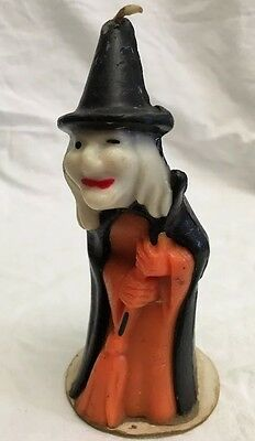 """Vintage Gurley Halloween Witch w/ Broom Candle, Unburned, 5 1/2"""" Tall Decoration"""