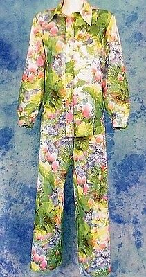 "70s VtG FLORAL EXPLOSiON 26"" WiDE LEG PALAZZO BELL BOTTOM PANTS SUiT POET TOP L"