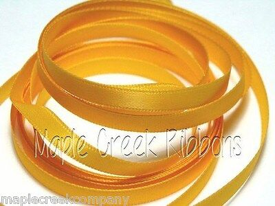 """5yds of Light Gold (Yellow Gold) 1/4"""" Double Face Satin Ribbon 1/4"""" x 5 yards"""