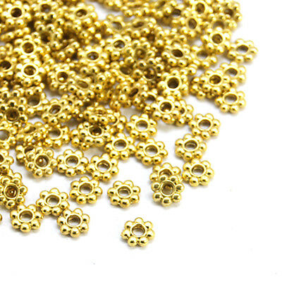 200pcs Tibetan Alloy Flower Metal Beads Antique Gold Loose Spacers Tiny 4x1.2mm