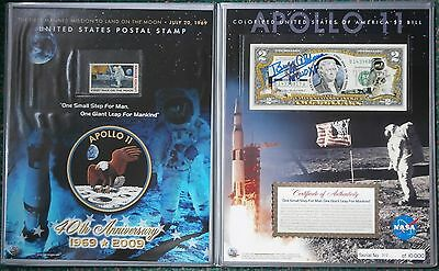 Buzz Aldrin hand signed two Dollar bill and stamp set UACC AFTAL